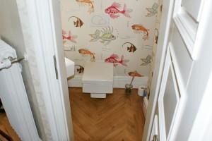 Fischgrätparkett Gäste WC Badezimmer Frankfurt Nordend
